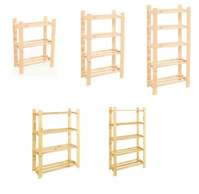 Solid Wooden Storage Shelf 3 & 5 Tier Shelving Unit, Garage, Home Shed, Bookcase • 22.99£