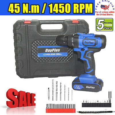 View Details 21V Power Cordless Drill Driver Electric Rechargeable With 2x Li-Ion Battery US • 44.43$