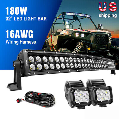 $69.99 • Buy  Nilight 32  Inch Curved LED Light Bar Combo + 4PCS 4  OffRoad Lighting For Jeep