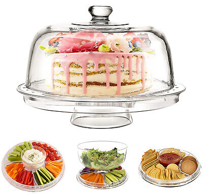 £12.95 • Buy Multi Functional Modern Design 5IN1 Plastic Cake Stand And Dome Cover Salad Bowl