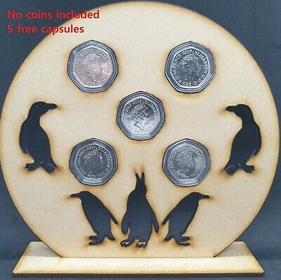 Penguin 50p Pence Coin Holder Coin Stand Display MDF Fits Set Of 5 Coins • 8£