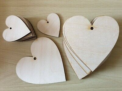 Wooden Wood Heart Shape Tag Wood Craft Blanks Weddings Party Bunting 3mm Thick • 15£