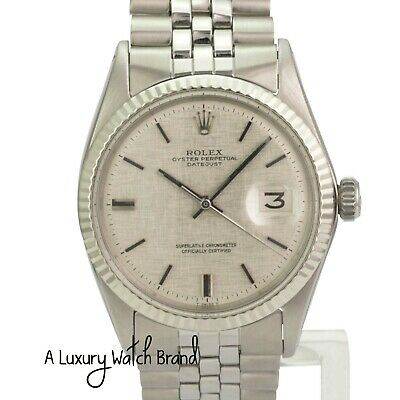 $ CDN5298.54 • Buy Rolex Datejust Mens Stainlees Steel Grey Linen Index Dial 18KW Bezel Watch