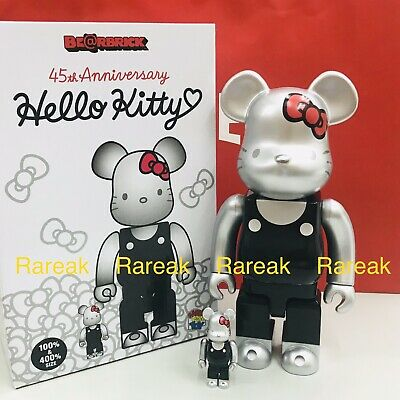 $299.99 • Buy Medicom Be@rbrick Sanrio Hello Kitty 45th Anni. 00's Black 400% & 100% Bearbrick