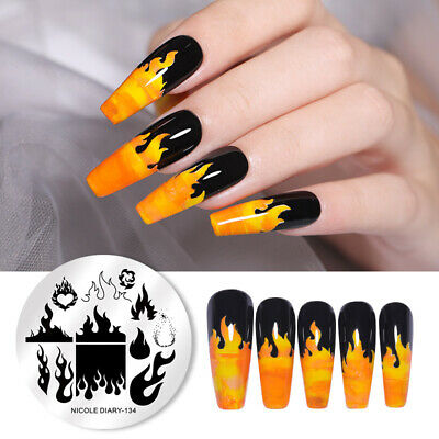$0.99 • Buy NICOLE DIARY Nail Art Stamping Plates Flame Image Stencil Plate Stamping Tools