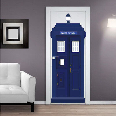 Dr Who Tardis Wall Decal Sticker Room Wallpaper Tardis Door Decal Cling, S71 • 9.22£