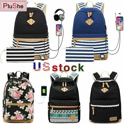 $22 • Buy 2PCS Girls College Canvas Backpack Stripe USB Charging Laptop Travel School Bag