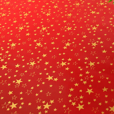 Red And Gold Christmas Stars PVC Vinyl Wipe Clean Oilcloth Tablecloth • 4.99£