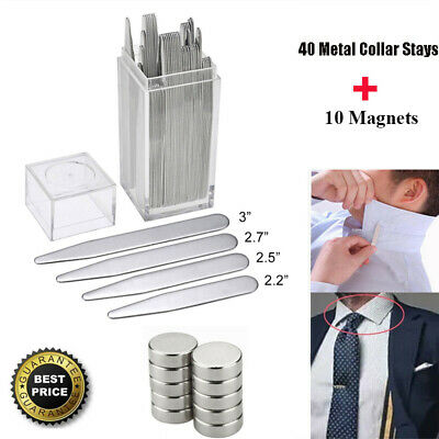 $12.93 • Buy 40 Metal Collar Stays + 10 Magnets 4 Various Sizes With Box For Men Dress Shirts