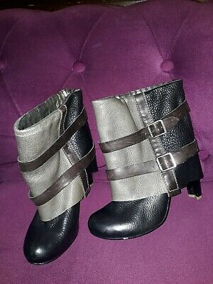 £12.99 • Buy Feud Leather Black Brown Grey Leather Quirky Ankle Boots 4  Heel Size 6 Eu 39