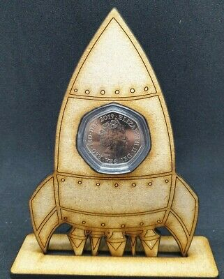 Rocket Ship 50p Coin Stand Display MDF 50 Pence Holder NO COIN Just Capsule • 6.50£