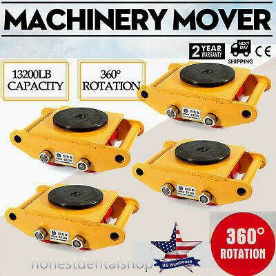$208 • Buy US 4x 6 Ton Heavy Duty Machine Dolly Skate Machinery Roller Mover Cargo Trolley