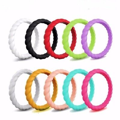 AU6.45 • Buy Fashion 3mm Thin Braided Silicone Ring For Women Wedding Sports Hypoallergenic