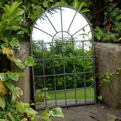 £49.99 • Buy Gothic Arch Garden Mirror 32 Panel Rustic Metal Frame Wall Mounted Outdoor Home