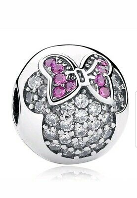 Pink Minnie Mouse Disney Bead Round Head Charm With Gift Pouch - Silver Tone • 3.99£