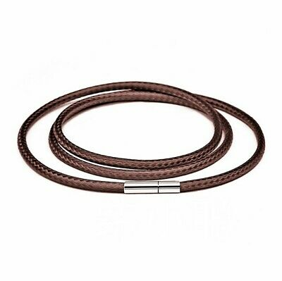 AU5.95 • Buy Men Women Brown Wax Leather Cord Stainless Steel  Necklace Rope (Turn & Pull)