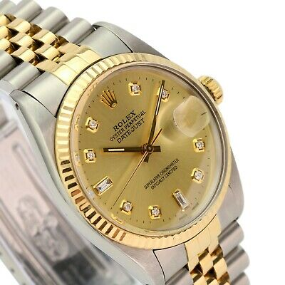 $ CDN6765.83 • Buy Rolex Datejust Mens Watch Two-Tone Champagne 8+2 Diamond Dial Fluted Bezel 36mm
