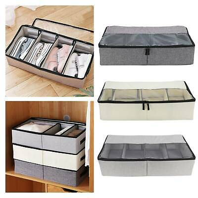 1/2PCS  Canvas Under Bed Storage Bag Box Compartments Clothes Shoes Organizer • 5.99£