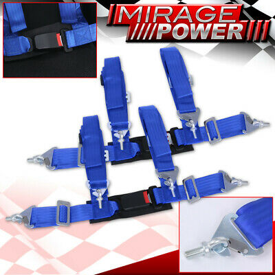 $ CDN65.20 • Buy Blue 4 Point Safety Seat Belt Harness Strap Pair 2  W/ Buckle Latch On / Off