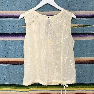 $ CDN45.64 • Buy Anthropologie Blouse Size Medium Ivory Embroidered Sleeveless Open Back Tiny Top