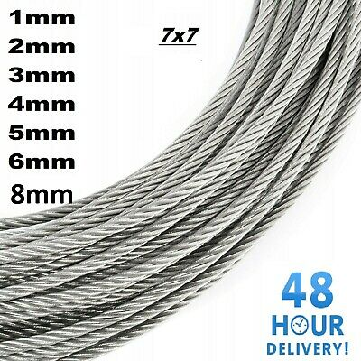 Galvanised Steel Wire Rope Metal Cable Rigging 7 X 7 1mm 2mm 3mm 4mm 5mm 6mm 8mm • 4.94£