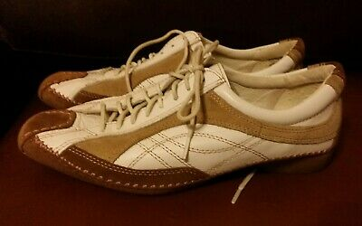 Ladies Jana Leather Brown Cream Loafers Trainers Size 5 Lace Up  Shoes • 9£