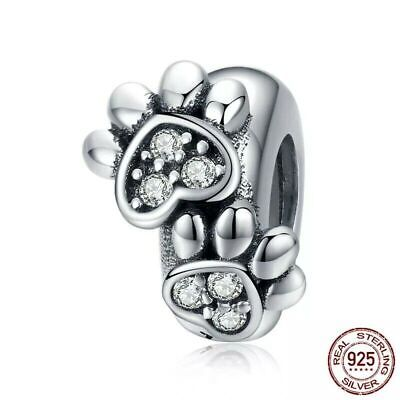 💖 Dog Cat Paw Spacer Stopper 925 Sterling Silver Charm Fit Bead Bracelet 💖 • 11.99£
