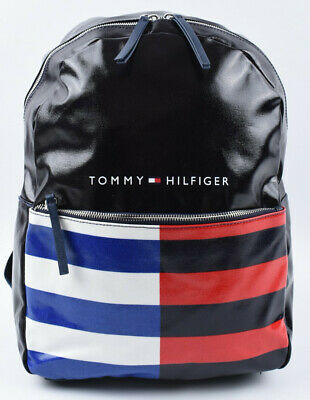 TOMMY HILFIGER Oilcloth Black/Striped Backpack, School / Travel / Leisure • 49.99£
