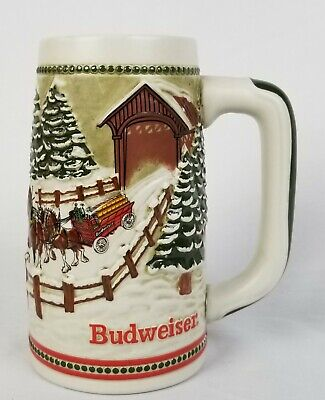 $ CDN31.42 • Buy Budweiser Beer Stein Holiday Mug Vintage 1984 Covered Bridge Clydesdale Hitch 3D