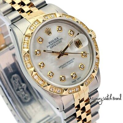 $ CDN7716.85 • Buy Rolex Datejust Mens Two-Tone White Mother Of Pearl Diamond Dial And Bezel Watch