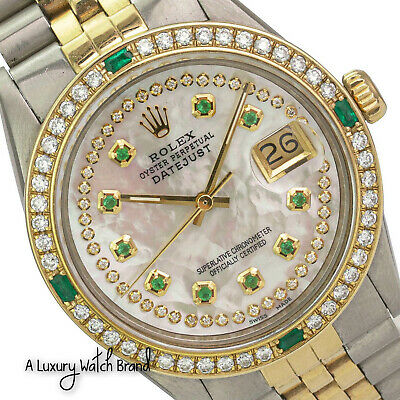 $ CDN7873.09 • Buy Rolex Datejust Mens 36mm Two-Tone White Mother Of Pearl Diamond & Emerald Watch