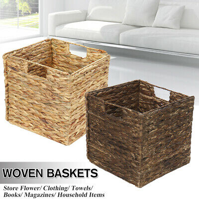Foldable Seagrass Woven Baskets Flower Laundry Storage Organizer Home Decor * • 10.78£