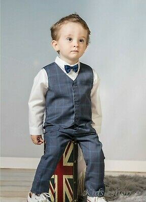 Baby Boy Suit Gentleman Grey Checked Outfit Smart Party Birthday Christmas  • 22.99£