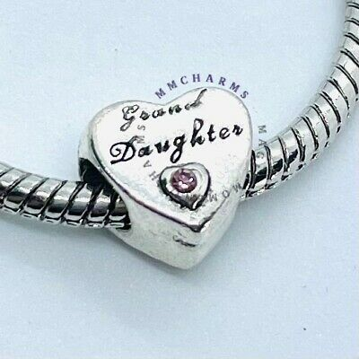GRANDAUGHTER Grand Gran Daughter European Charm & Pink Gift Pouch - Silver Tone • 6.50£