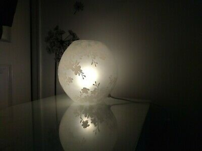 IKEA Glass Globe Lampwith Frosted Cherry Blossom Pattern. 18cm COLLECTION ONLY • 14.99£