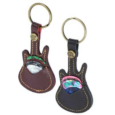 $ CDN3.18 • Buy New Leather Guitar Pick Holder Keychain Design Plectrum Bag Pick Case + 5 Picks