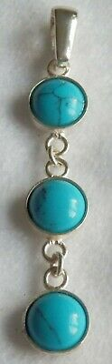 £12.95 • Buy Exquisite Three Tier Sterling Silver Mount & Turquoise Cabochons' Pendant