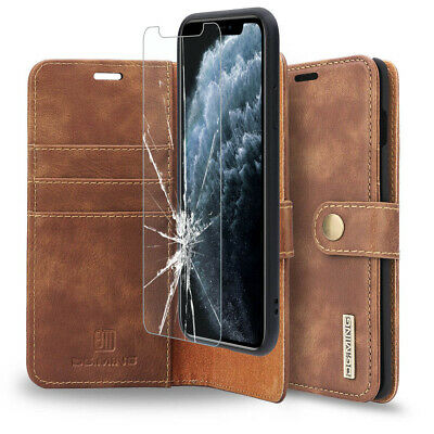 AU30.39 • Buy IPhone 11 8 6s Black /Brown Genuine Leather Wallet Case With Credit Card Holder