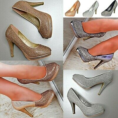 Womens Diamante High Heel Platform Court Shoes Sparkly Party Evening Pumps Size  • 26.86£