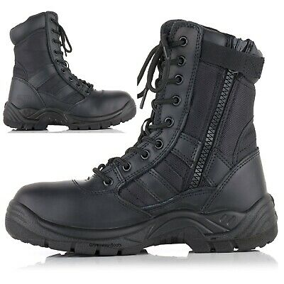 £23.95 • Buy Mens Lightweight Non Safety Leather Military Combat Boots Police Army Shoes Size