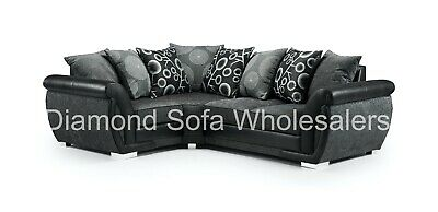 Sofa Shannon - Left Hand Facing / Right Hand Facing Black/Grey Fabric • 589£