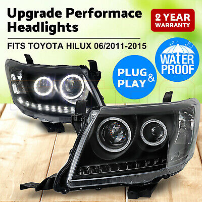 AU379 • Buy PAIR Headlights Black DRL HALO Projector Angel Eyes Fits Toyota HILUX 2011-2015