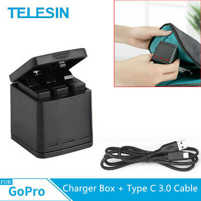 $ CDN15.86 • Buy TELESIN For GoPro Hero 8 7 6 3 Slot Battery Charger Type C 3.0 Cable USB 3.1 US
