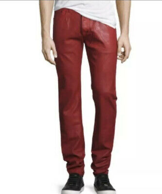 New PRPS Goods & Co Red Demon Heavy Resin Coated Slim Fit Jeans Sz 32 Rtl $395 • 136.03£