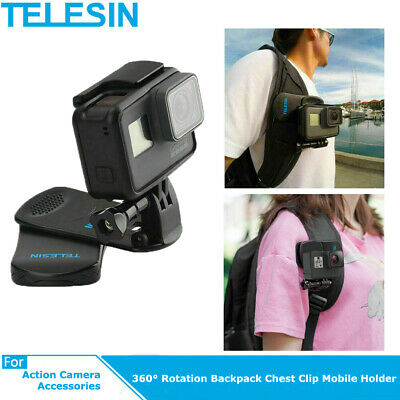 TELESIN For GoPro Hero Travel Accessories 360 ° Rotary Backpack Clip Clamp Mount • 7.18£
