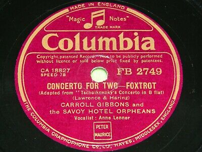 £5 • Buy CARROLL GIBBONS & SAVOY HOTEL ORPHEANS : Concerto For Two - 1941/42 UK 78rpm 19N