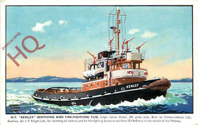 Picture Postcard::M.T. KENLEY BERTHING AND FIRE-FIGHTING TUG [SALMON] • 3.09£