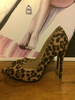 Womens Leopard Print Heeled Missguided Court Shoes, Size 7 • 12£