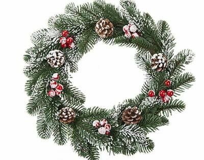 35CM PE SNOWY PINE & BERRY WREATH, Christmas Decoration • 9.50£