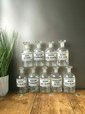 Collection Of Vintage Glass Science Lab Chemist Apothecary Display Jars Bottles • 24.95£